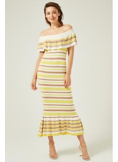 Mimoza Bardod Fırfırlı Çizgili Triko Elbise - Sarı Sarı